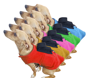 <b>PupWarmer™ Keep your dog warm!</b><br>Wardrobe of 5 Dog Sweaters (Red, Blue, Green, Pink, Yellow, Tan) with Doggie Bag Backpack and Inside Pouches.